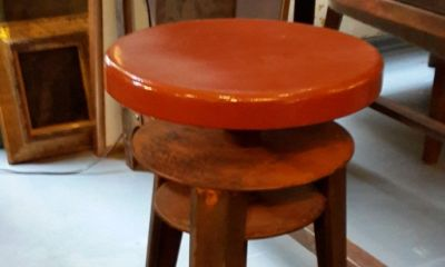 Wooden Top Rusted Base Stool