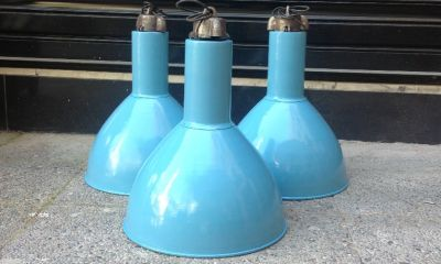 czech light blue factory pendent lamps
