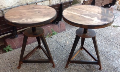 Round Wooden Top Coffee Tables with Pressed Metal Base