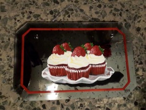 Hand painted strawberry cupcakes on vintage mirror